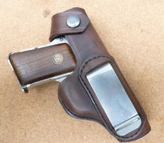 IWB carry leather holster for the 1920s German Ortgies automatic pistol. Custom leather holsters for vintage pistols is a specialty of makeitjones.co.uk