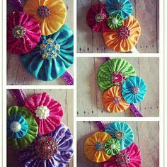 Neon YoYo Flower Headband Bright Summer Colors by paigerobers, $11.99