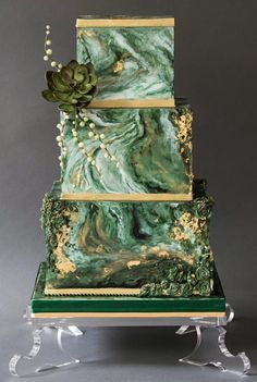 Green marble and gold wedding cake www etsy com sh Beautiful Wedding Cakes, Gorgeous Cakes, Pretty Cakes, Amazing Cakes, Square Wedding Cakes, Wedding Cake Designs, Green Wedding Cakes, Western Wedding Cakes, Cake Wedding