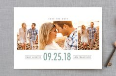 """""""Uptown Trio"""" - Customizable Save The Date Postcards in Green by Shirley Lin…"""