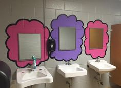 It's Pinkalicious and Purplicious . These leaders shine all the time! School Decorations, School Themes, School Fun, Art School, School Ideas, School Hallways, School Murals, Bathroom Mural, Bathroom Stall