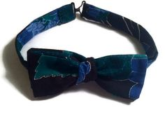 Men's Blue Floral Straight Like That Bow Tie - Self-Tie/Adjustable Bow Tie With Straight Ends