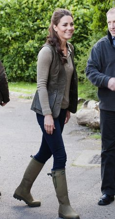 Kate Middleton dressed down in Zara jeans, Le Chameau wellies, and Burberry top, for an adventurous day at Expanding Horizons' primary school camp in Wrotham, Kent, UK.