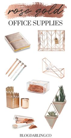 10 Gorgeous Rose Gold Office Supplies for a Feminine Home Office – office organization at work cubicle Work Desk Decor, Gold Office Decor, Cheap Office Decor, Wall Decor, Gold Office Supplies, Desk Supplies, Rose Gold Room Decor, Feminine Home Offices, Feminine Office