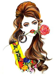 Items similar to Fashion Illustration - Moschino on Etsy Fashion Illustration Face, Illustration Art Nouveau, Fashion Illustrations, Fashion Art, Fashion Beauty, Girl Fashion, Beauty Style, Fashion Design, Moschino