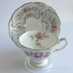 Free Shipping Royal Albert MARIE from the Rose du Barry Series Bone China Tea Cup and Saucer by LauriesFineChina on Etsy