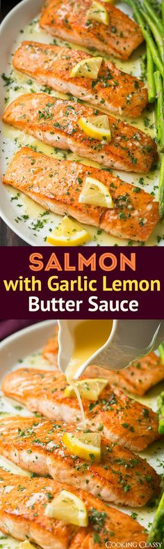 Pan Seared Salmon (with Lemon Butter Sauce!) - Cooking Classy Skillet Seared Salmon with Garlic Lemon Butter Sauce - Cooking Classy Salmon Dishes, Seafood Dishes, Seafood Recipes, New Recipes, Favorite Recipes, Healthy Recipes, Recipies, Sauce Recipes, Salmon Meals