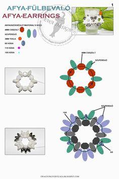 Ewa gyöngyös világa!: Ayfa fülbevaló minta / Ayfa earrings pattern