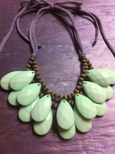 Items similar to Mint Seafoam Green Double Stranded Briolette Bib Statement Necklace Antique Brass on Etsy Jewelry Crafts, Jewelry Art, Jewelry Necklaces, Handmade Jewelry, Beaded Necklace, Jewelry Design, Women Jewelry, Fashion Jewelry, Mint Necklace