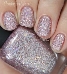 """Zoya - Spring 2014 PixieDust Magical Pixie Collection: """"Lux"""" is a pale icy princess pink texture polish with metallic and holographic glitter. 2 coats."""