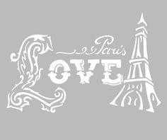 Pochoir Adhésif 28 x 20 cm LOVE PARIS VINTAGE