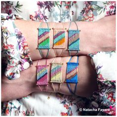 Multicolor micro macrame bracelet, with miyuki delica seed beads - stripe patterns. 6 colors available. © Natacha Fayard #bracelet #macrame #micromacrame #stripe #multicolor #ss2017 #miyuki #delica #gold #spring #summer #trends #colors #etsy #boho #bohochic