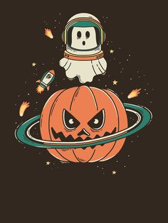 Halloween t-shirt inspiration Pumpkin Planet by merupa Vintage Halloween, Fall Halloween, Happy Halloween, Halloween Witches, Halloween Shirt, Halloween Costumes, Halloween Wallpaper Iphone, Fall Wallpaper, Halloween Backgrounds