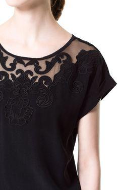 자수장식 티셔츠 - 여성 - 최신상품 - ZARA 대한민국