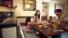 You'll feel right at home in the spacious villas at Disney Aulani in Hawaii. Plenty of room for everyone.