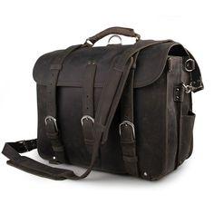 ed61bfbf2e63 Image of WOW ARROGANCE Vintage Handmade Crazy Horse Leather Briefcase  Backpack Messenger bag--FREE