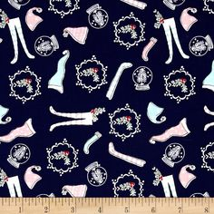 Riley Blake Pixie Noel Hats and Socks Navy from @fabricdotcom  Designed by Tasha Noel for Riley Blake Designs, this cotton print collection is perfect for bringing a pastel and retro look to your christmas quilts, apparel, and home decor accents. Colors include navy, pink, white, green, and red.