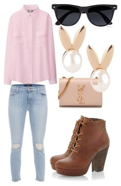 School day by softballgirl42 on Polyvore featuring polyvore, fashion, style, Uniqlo, J Brand, Steve Madden, Yves Saint Laurent, Aamaya by priyanka and River Island
