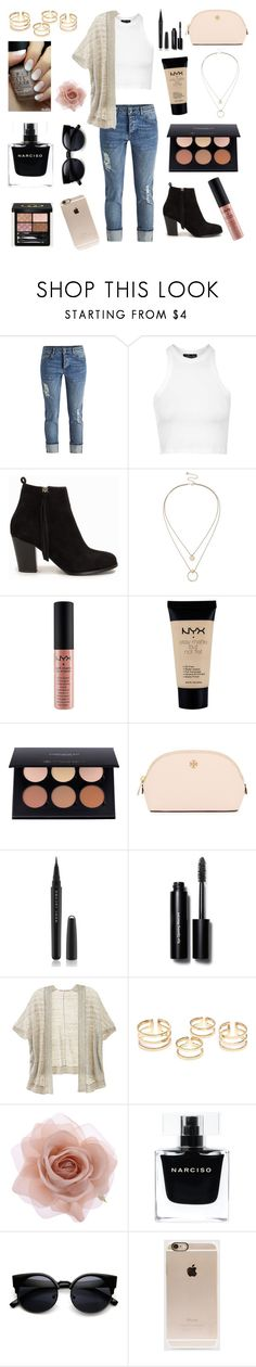 """""""Girly boho casual"""" by laneylilac ❤ liked on Polyvore featuring Topshop, Nly Shoes, Sole Society, NYX, Anastasia Beverly Hills, Tory Burch, Marc Jacobs, Bobbi Brown Cosmetics, Victoria's Secret and Accessorize"""
