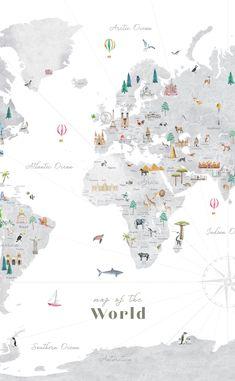 Grey Countries World Map Printable, wall art print, nursery decor, kids room, travel print, map art, wall map, wallpaper, homeschooling