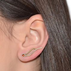 3MM GARNET EAR CLIMBER EARRING #iroocca #custom_jewelry #ear_climber_earring…