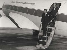 Maastricht Holland visit: STC staff with aircraft pilot, staff exiting STC branded plane, 1968. IET Archives NAEST 211/02/23/06 T.8902-3