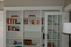 Installed and painted Ikea billy bookshelves  as well as the surrounding trim. Came out ok but would like to finish faster:(