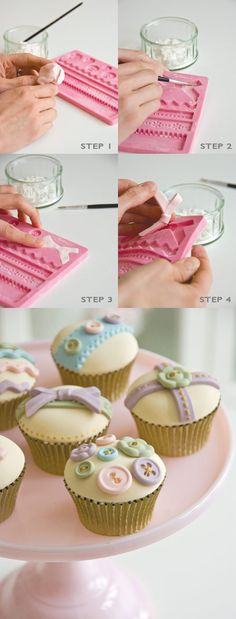 Create These Cupcakes In 4 Easy Steps - photo only Cakes To Make, Cakes And More, How To Make Cake, Cake Decorating Techniques, Cake Decorating Tutorials, Cookie Decorating, Decorating Ideas, Decors Pate A Sucre, Cupcakes Decorados