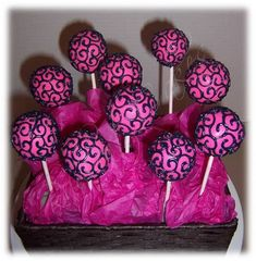 Hot Pink and Black Swirl Cake Pops.maybe do these but with wedding colors! Cupcakes, Cupcake Cakes, Pink Cake Pops, Pink Cakes, Birthday Cakes For Teens, Cake Birthday, Birthday Wishes, Swirl Cake, Teen Cakes