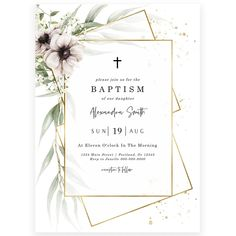 Anemone Florals Baptism Invitation | Forever Your Prints