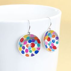 small-round-colour-pop-earr Silver Earrings, Silver Jewelry, Drop Earrings, Colour Pop, Happy Vibes, Crochet Earrings, Jewelry Design, Dots, Gift Wrapping