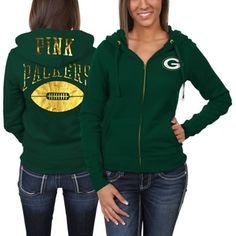 Victoria's Secret PINK Green Bay Packers Ladies Bling Full Zip Hoodie - Green