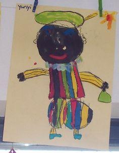Piet tekenen en inkleuren met verf of ecoline