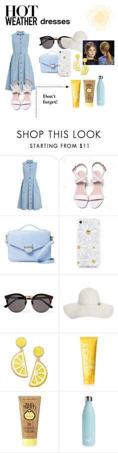 """Hot Weather Dresses"" by braceface04 ❤ liked on Polyvore featuring Cynthia Rowley, Illesteva, Melissa Odabash, Celebrate Shop, Clinique, Sun Bum and S'well"