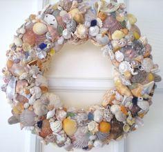 Inviting and delightful Handmade Sea Shell Wreath by MaraleeDesignEtc on Etsy, $65.00 #handmade #sea #tbec #florida
