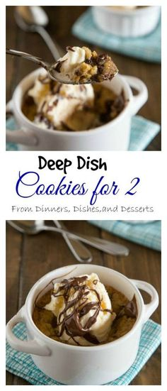 "Deep Dish Chocolate Chip Cookies for Two -An ooey, gooey, chocolate-y deep dish cookie that makes just enough for two people. A homemade version of the famous Pizookie. for two Deep Dish Chocolate Chip Cookies For Two ""Pizookies"" Mug Recipes, Cookie Recipes, Dessert Recipes, Recipes For Two, Just Desserts, Delicious Desserts, Yummy Food, Small Desserts, Chocolate Chip Cookies"