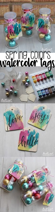 Colorful Watercolor Wood Tags: Random Acts of Kindness!