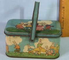 VINTAGE TINDECO TIN LITHO PETER RABBIT PICNIC BASKET CANDY CONTAINER