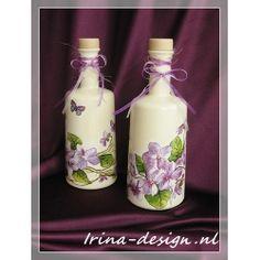 "Decorative bottles ""Violet and butterflies"" #decoupage, #decorations, #handicrafts, #home products, #creative, #hobbies, #ideas, #interior, #restoration, #napkin technique, #gifts"