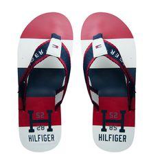 Tommy Hilfiger – Slippers Barney – Rood/Wit/Blauw Beachwear Accessoires 45