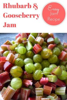 Rhubarb and Gooseberry fruity jam. An easy to make jam recipe using your favourite fruits from the garden. So if you have a Gooseberry Glut or Rhubarb glut and are looking for recipe ideas this homemade jam recipe is perfect. Click the link to visit my bl Rhubarb Recipes, Jam Recipes, Canning Recipes, Fruit Recipes, Sweet Recipes, Recipies, Rhubarb Desserts, Gooseberry Jam, Gooseberry Recipes