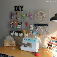 Organized craft / sewing room.