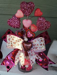 Valentine's Day Arrangement, PINK, Love, Hearts, Valentine, Home Decor, Centerpiece, Perfect Gift, Valentine's Party, Holiday Decor, Decor by GlitterDazzleSparkle on Etsy