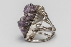 Artistic handmade silver ring with raw amethyst. Silver Jewellery, Jewelery, Raw Amethyst, Silver Rings Handmade, Rings For Men, Design, Jewlery, Jewels, Men Rings