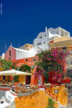 OiA - SANTORINI ~ colorful cafe, Greece by Petros Makris~~
