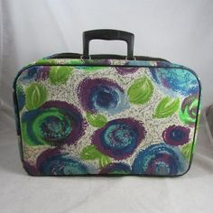 Mod Canvas Suitcase Overnighter Soft Sided Japan Psychedelic Van Gogh Style Print 17 x 11 x 4 Decoupage Suitcase, Vintage Suitcases, Plastic Tables, Green And Purple, Blue, Shabby Cottage, Table Covers, Van Gogh, Zippers