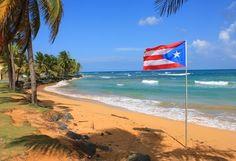 Puerto Rico Beaches   Puerto Rico Beach with Flag