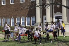 Lori Allen/The News Members of Alpha Sigma Alpha spent last Friday teetering for 24 hours to raise money for their philanthropy, the S. June Smith Center.