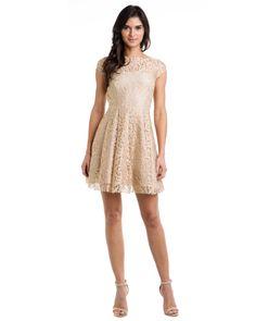 ABS by Allen Schwartz Beige Lace Open Back Dress Do you like?