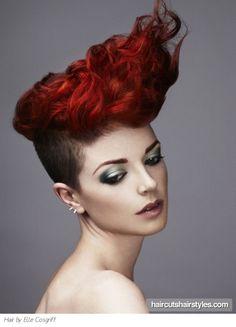 Women's Hair - Disconnected Hair Cut, Red Hair Color, Wavy Texture, Style Avant Garde
